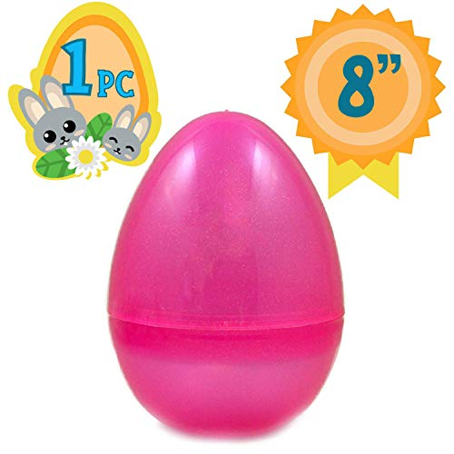 Totem World Jumbo Fillable Plastic Easter Egg Hunt Party Supply - 8-Inch Transparent Pink Glitter Color Plastic -