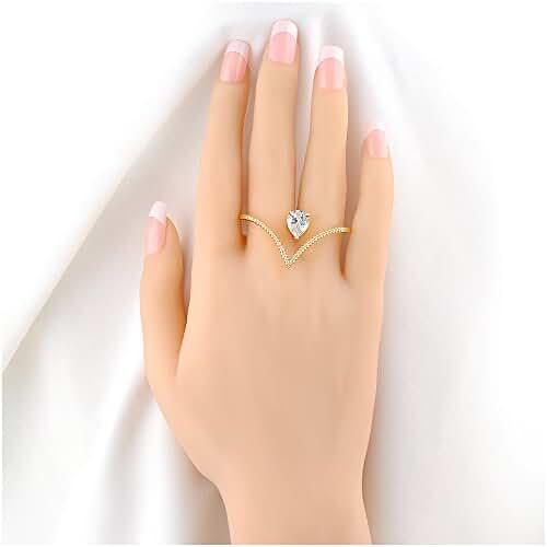 Mytys Stylish Heart Shape Austria Crystal and Cubic Zircon 2 Finger Rings