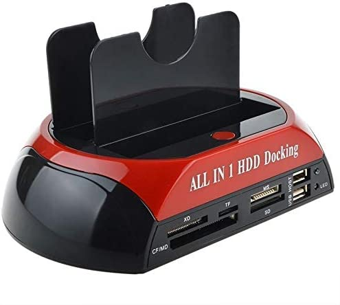Alician Dual Slots SATA Hard Drive Docking Station Card Reader for 2.5 3.5 HDD U.S Plug