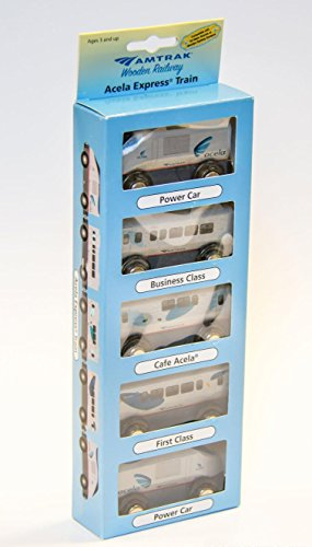 Wooden Amtrak Train Acela Train 5 Car Set Compatible with other Railroads