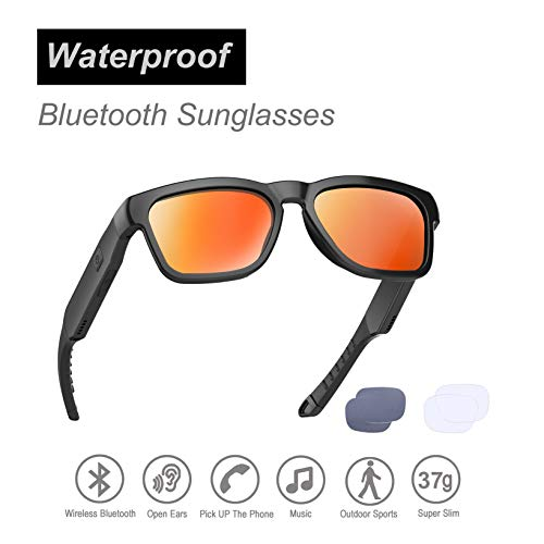 Waterproof Audio Sunglasses, Outdoor Sported Over Ear Bluetooth Headset with Built-in Microphone,Polarized UV400 Protection Safety Lenses Compatible for All Editions of Smart Phone (Black Frame)