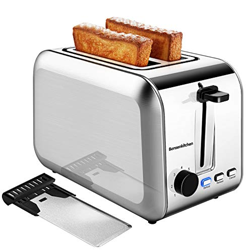 2 Slice Toasters, Bonsenkitchen Stainless Steel Wide Slot Bread Toaster with Defrost/Reheat/Cancel Function, 7 Brown…