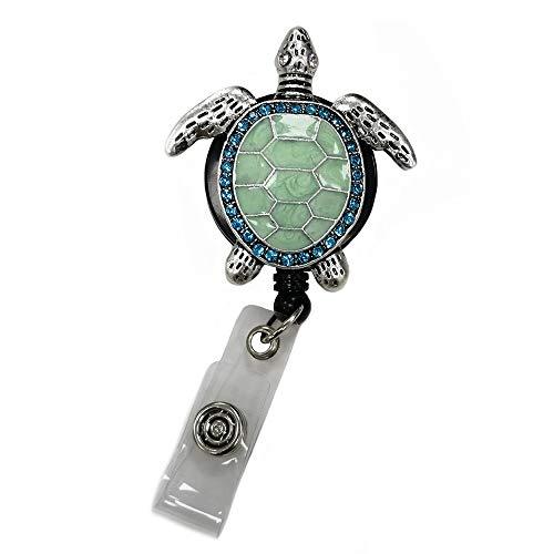 (Aquamarine Enamel Sea Turtle Retractable ID Badge Reel,Name Card Holder,ID Badge Reel for Nurse)