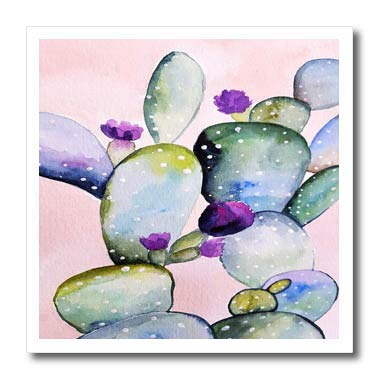 (3dRose Lens Art by Florene - Watercolor Art - Image of Trendy Large Pastel Cactus Watercolor Painting - 10x10 Iron on Heat Transfer for White Material (ht_295149_3))