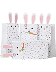 VEYLIN 24Pcs Easter Bunny Paper Boxes, White Pretzel Paper Bags Assortment with 26 Pair Pink Rabbit Ears for Easter Party Favor Supplies