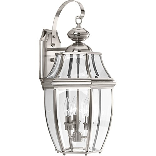 Progress Lighting P6612-09 New Haven Three-Light Large Wall Lantern, Polished Chrome