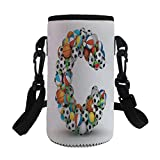 Small Water Bottle Sleeve Neoprene Bottle Cover,Letter C,Sporting Goods in the Shape of Letter C Fun Activity Competitive Plays Equipment,Multicolor,Great for Stainless Steel and Plastic/Glass Bottles