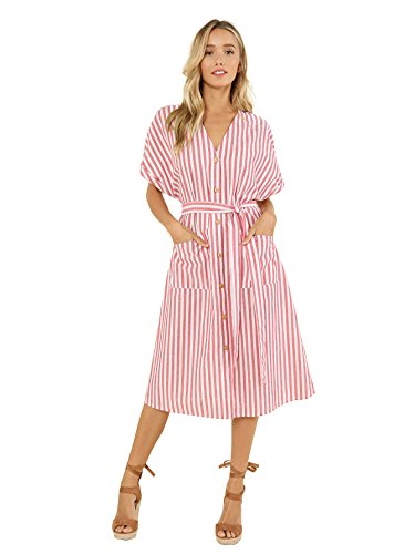 Floerns Women's V-Neck Stripe Button up Midi Dress with Pockets Red and White (Belted Stripe Tunic Dress)