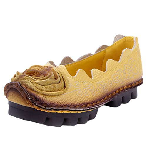 MatchLife Women Vintage Leather Flat Pump Floral Shoes Style3-Yellow