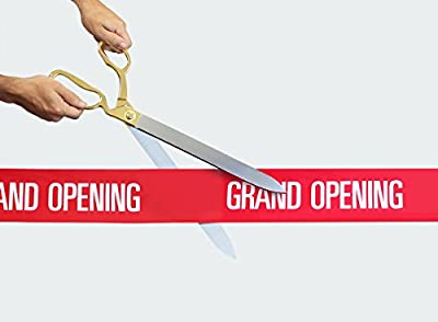 """FREE Grand Opening Ribbon with 20"""" Gold Plated Handles Ceremonial Ribbon Cutting Scissors"""