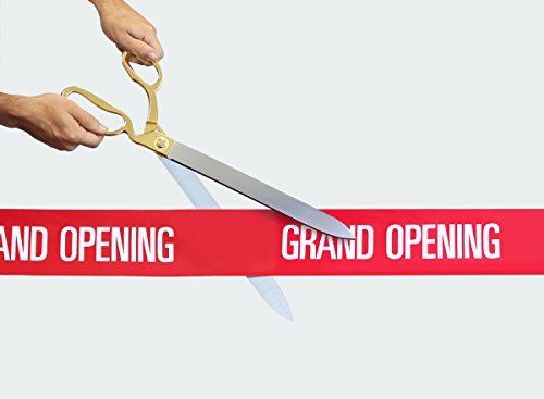 FREE Grand Opening Ribbon with 20' Gold Plated Handles Ceremonial Ribbon Cutting Scissors