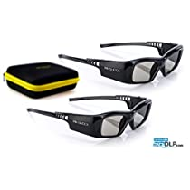 Hi-Shock DLP Pro 3D Glasses 96 - 200Hz | DLP Link Glasses / Lunettes 3D for All DLP Projectors | comp. with Acer E2W / BenQ 5J / Optoma ZD302 / Viewsonic PGD-350 / Philips PPA5610 / Infocus X103