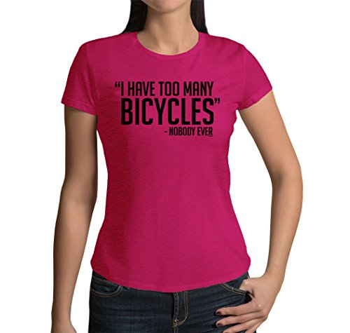 HAASE UNLIMITED Junior's I Have Too Many Bicycles - Nobody Ever T-Shirt (Pink, X-Large)