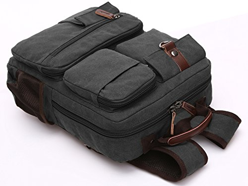Canvas Backpack, Aidonger Vintage Canvas School Backpack Hiking Travel Rucksack Fits 14'' Laptop (Black-48) by Aidonger (Image #2)