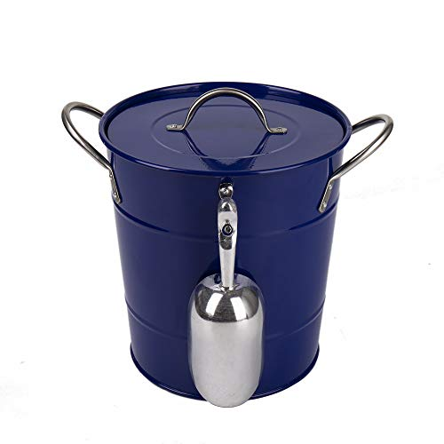 (Hot Sale T586 Blue 4L Metal Double Walled Ice Bucket With Lid And)