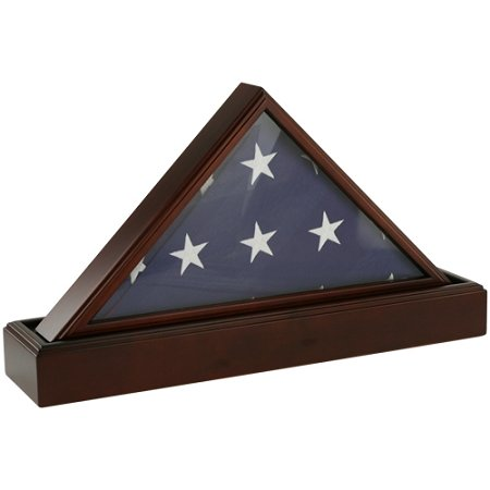 Flag Case & Pedestal Urn, Cherry Wood Display Case for One Flag and Cremation Urn for Ashes, Glass and Wood Case for American Flag with Adult Sized Urn