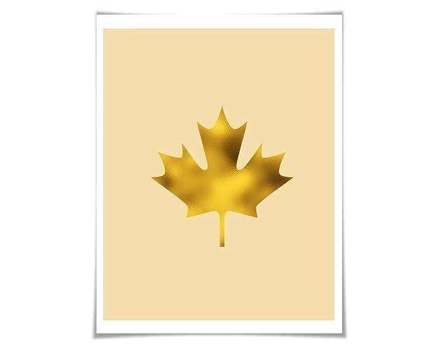 Amazoncom Maple Leaf Gold Foil Art Print 36 Colours3 Sizes