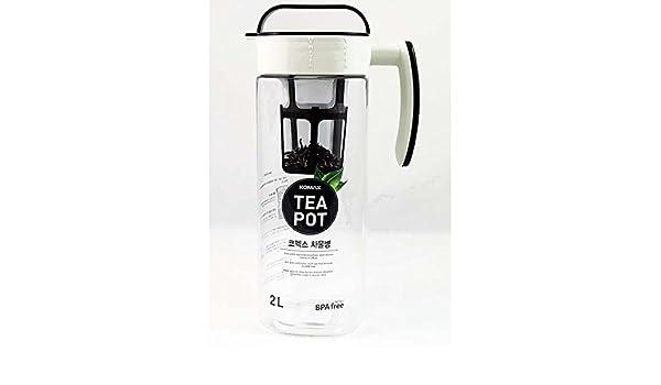 KOMAX Tritan Clear Large Iced Tea Maker Tea Pot Water Bottle 2L BPA-FREE