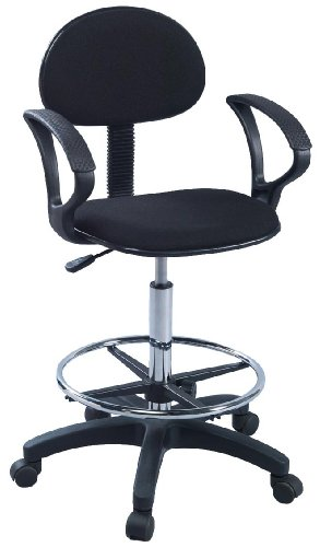 Martin Deluxe Black Stiletto Drafting Height Chair with Arms