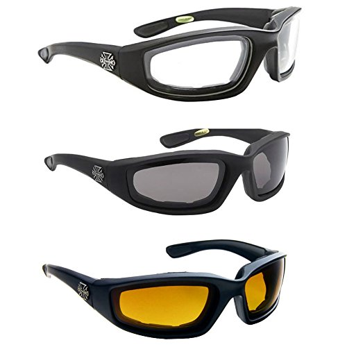 Aviator Cycling Driving Polarized Geek Reading Fashion Frame 3 PAIR COMBO Chopper Padded Wind Resistant sunglasses Driving unisex style Motorcycle Riding - Storage Case Ford Sunglasses