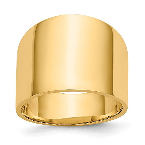 Mia Diamonds 14k Solid Yellow Gold 15mm Flat-Top Tapered Cigar Band Ring ()