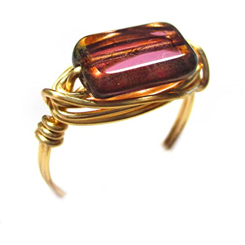 (Golden Raspberry Czech Glass Gold Wire Wrap Ring )
