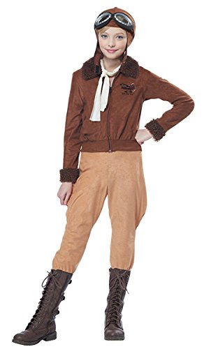 Aviator Hat With Goggles (California Costumes Amelia Earhart/Aviator Costume, Medium, Brown)