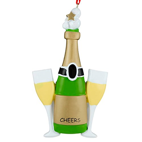Personalized Champagne Toast Christmas Ornament for Tree 2018 - Bottle with Glass Cheers Bubbles - Party Congratulation Wine Birthday Special Marriage Anniversary Engagement - Free Customization
