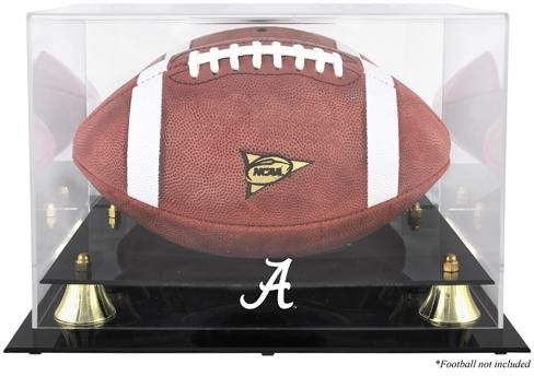 Sports Memorabilia Alabama Crimson Tide Golden Classic Football Display Case with Mirror Back - College Football Logo Display Cases