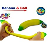 JA-RU Super Stretchy Banana Assorted and Bouncy Ball Bundle Stretches Long & Shrink Slow. Smells Good 3340 (Banana and Ball)