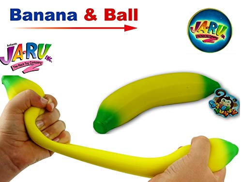 JA-RU Super Stretchy Banana Assorted and and 1 Collectable Bouncy Ball Stretches Long & Shrink Slow. Smells Good 3340 (Single Banana)