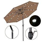 HomGarden 10ft Solar Patio Umbrella Sunbrella LED Power Table w/Tilt Adjustment and Crank Lift System for Garden, Backyard, Deck, Poolside, Pool Indoor Outdoor, Tan