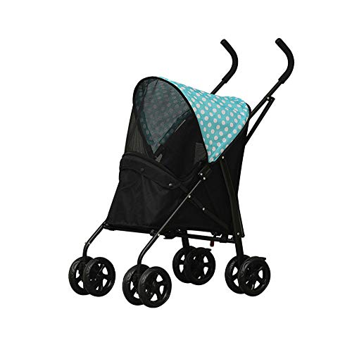 Four Wheels Pet Stroller Oxford Fabric Suitable for Cats/Dogs U-Shaped Foam Armrest with Breathable Net The Front Wheel Can Be Rotated 360 Degrees