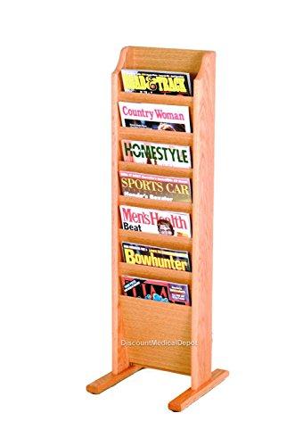(DMD Floor Magazine Rack, Free Standing, 7 Pocket, Light Oak Finish)