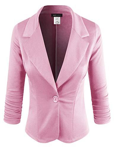 ELF FASHION Women Casual Work Knit Office Blazer Jacket Made in USA (Size S~3XL) Pink 2XL]()