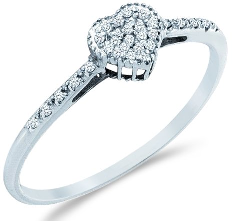 Sonia Jewels Size - 7-14k White Gold Heart Love Shape Center Pave Setting Round Cut Ladies Diamond Engagement Cocktail Ring Band 6mm (.07 cttw)