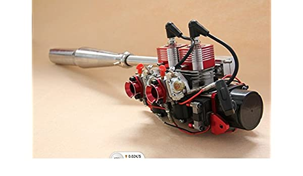 GOWE double-cylinder two-stroke 58CC engine of rc boat with muffler