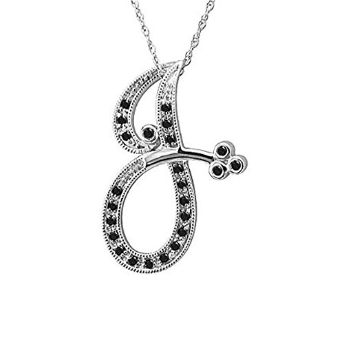 14k White Gold Alphabet Initial Letter J Black Diamond Pendant Necklace (0.11 Carat) 0.11 Ct Diamond Pendant