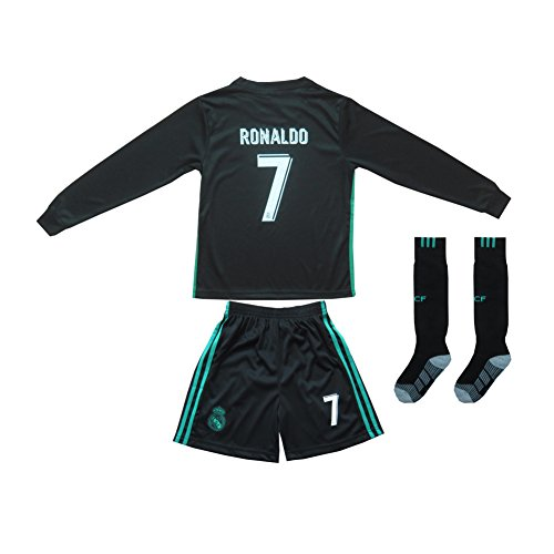 2015/2016 REAL MADRID #7 RONALDO KIDS AWAY NAVY LONG SLEEVE SOCCER JERSEY & SHORTS YOUTH SIZES (XXL (Ages 12-13)) (Sleeve Jersey Madrid Real Long)