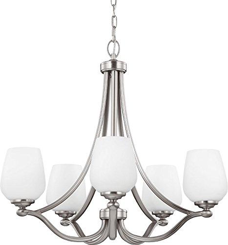 - Feiss F2960/5SN Vintner Glass Chandelier Lighting, Satin Nickel, 5-Light (26