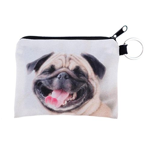 Coin Wallet,Neartime Coins Change Purse Zipper Wallet Small Key Bags Dog Cat Print (Pink) ()