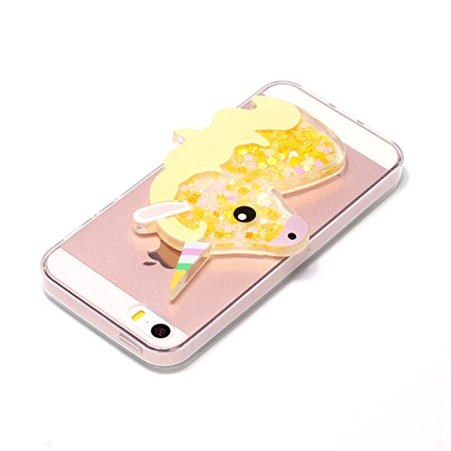 Cover iPhone 5 5S SE Unicorno, E-Unicorn Custodia Cover Apple iPhone 5 5S SE Brillantini Glitter 3D Giallo Unicorno Liquido Trasparente con Disegni Cristallo di Bling Silicone Ultra Sottile Morbida TP