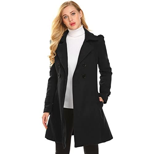 Asatr Women's Classic Double Breasted Long Sleeve Slim Waist Solid Wool Coat Peacoat for sale