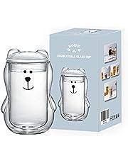 BAMINX Dubbelväggad glasskydd, espresso-kaffe-tekopp, glaskatt-design-kopp, 3D-kattungsglas, värmebeständig, dubbelväggig kaffemjölk, juice julskål (transparent)