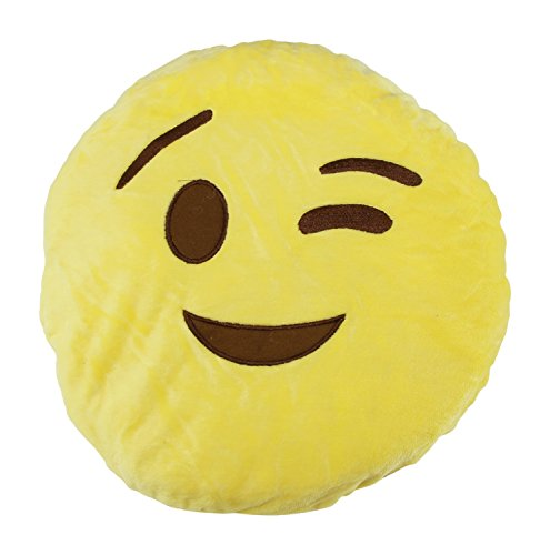 Winky Emotion Pillow (12 x 3in; Yellow)