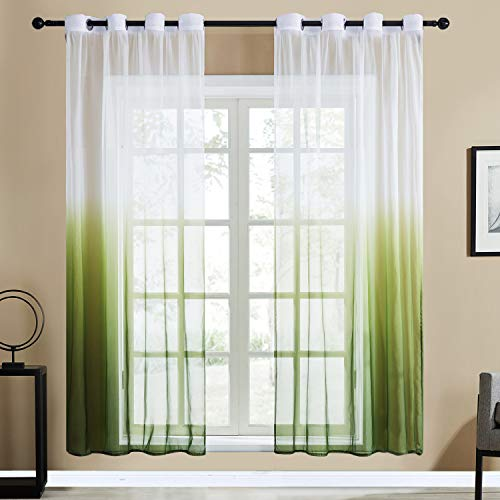 Top Finel Gradient Green Sheer Curtains 84 Inches Long for Bedroom Living Room Grommet Window Treatments Curtains, 2 - Outdoor Curtain Green