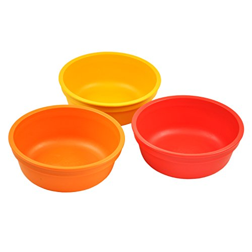 Re-Play Made in the USA 3pk Bowls for Easy Baby, Toddler, and Child Feeding - Orange, Sunny Yellow, Red (Fall)