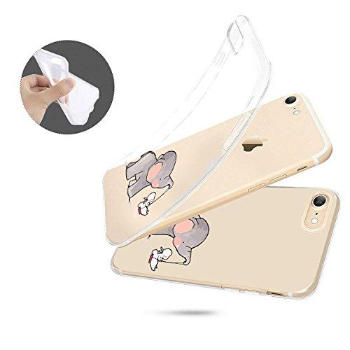 finoo | Iphone 6/6S Weiche flexible Silikon-Handy-Hülle | Transparente TPU Cover Schale mit Motiv | Tasche Case Etui mit Ultra Slim Rundum-schutz | Elefanten Schaukel Hase