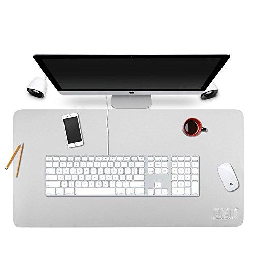 BUBM - Alfombrilla de mouse de piel sintética para oficina y hogar, tamaño grande, impermeable, reversible, color gris