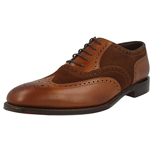 mens-loake-classic-two-tone-brogue-lace-up-shoes-sloane-dark-brown-leather-suede-size-8f-eu-42-us-si